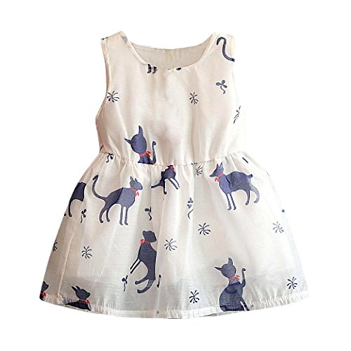 Vibola Summer Baby Kid Girl Animal Princess Party Clothes Print Sleeveless Tulle Tutu Dresses (Size:2/3T)