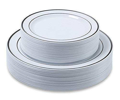 "Disposable Plastic Plates - 120 Pack - 60 x 10.25"" Dinner and 60 x 7.5"" Salad Combo - Silver Trim Real China Design - Premium Heavy Duty - By Aya"