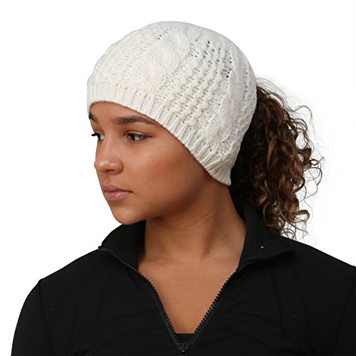 White Beanie Ladies - TrailHeads Ponytail Hat | Cable Knit Winter Beanie for Women - Wintry White
