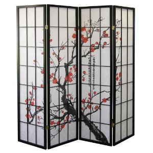 Plum Blossom Screen Room Divider, Black (Panel Cherry Finish Wooden Screen)