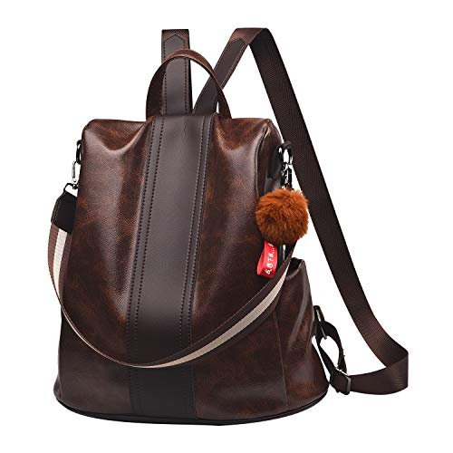 Leather 3 Way - Women Backpack Purse PU Leather Anti-theft Backpack Casual Satchel Shoulder Bag for Girls(Brown)