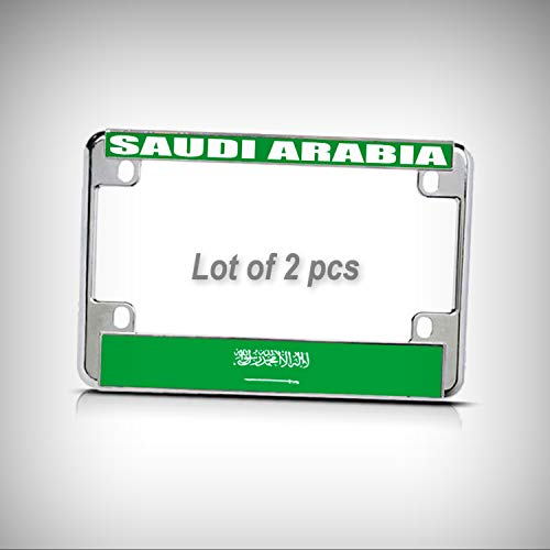 Set of 2 Pcs - Saudi Arabia Flag Metal Motorcycle Bike Tag Holder License Plate Frame Decorative Border