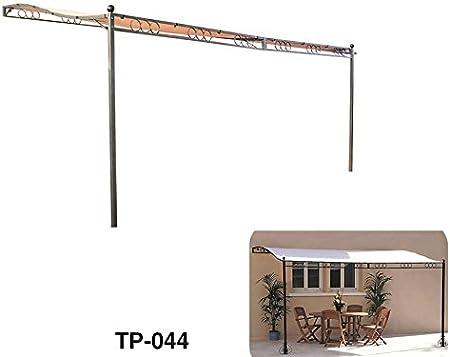 Cenador, pérgola de jardín, de 2, 50 x 3, 50 m con estructura de hierro y lona beige: Amazon.es: Jardín