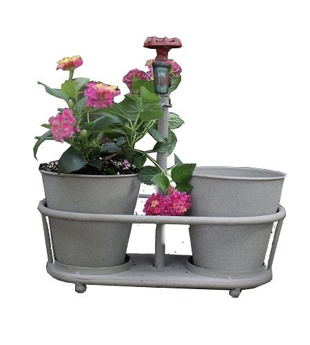 Creative Co-Op Metal Planters with Faucet Holder by Creative Co-Op by Creative Co-op