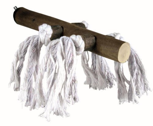 Trixie Wooden Bird Perch with White Cotton Ropes, 20 cm