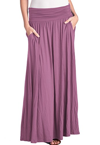 TRENDY UNITED Women's High Waist Fold Over Shirring Maxi Skirt with Pockets ,Dusty Pink-maxi,X-Large