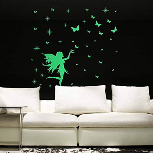 icker, Tuscom Butterfly Girl Fairy Luminous Cartoon Wall Mural Kids Removable Vinyl Wall 3D Sticker Glowing Stars Butterflies Wall Decals for Kids Bedroom or Birthday Gift (Green) ()