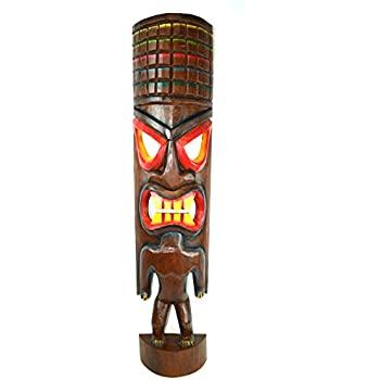 amazon com hand carved beautiful 3 ft warrior tiki totem pole rh amazon com