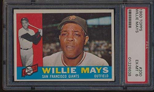 #200 Willie Mays HOF - 1960 Topps Baseball Cards Graded PSA 6 - Baseball Slabbed Autographed Vintage Cards