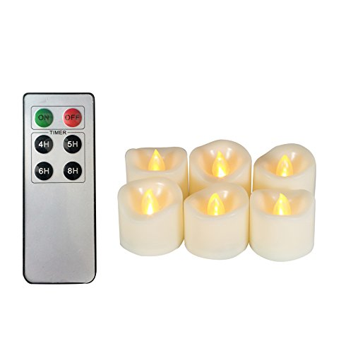 (6 Battery Operated Flameless LED Tea Lights Remote Timer Realistic Flickering Electric Tealight Votive Candles Set Bulk Baptism Wedding Party Decorations Favors Kitchen Home Decor Centerpieces Gifts)