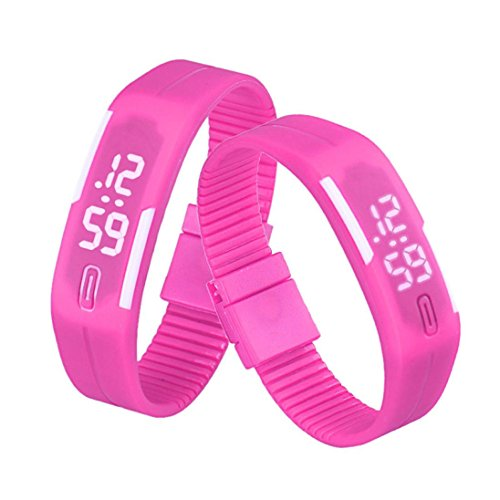 HP95 Unisex Rubber LED Watch Date Sports Bracelet Digital Wrist Watch (HoT Pink)
