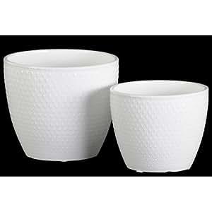 Urban Trends Collection: potgloss de cerámica color blanco