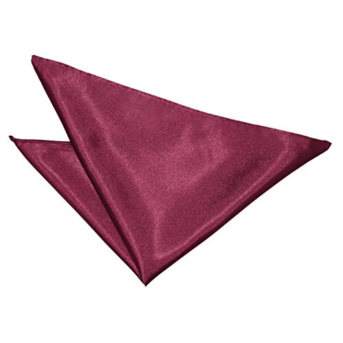 Solid Plain Satin Burgundy Men's Wedding Formal Handkerchief Pocket Square Hanky (Solid Satin Cravats)