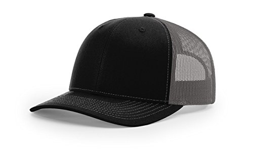 Foam Trucker Hat Cap - Richardson Trucker Cap, Black/Charcoal, One Size