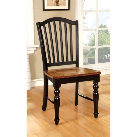 Furniture of America Nancy Country Two-Tone Dining Chair, Black/Antique Oak, 2pk