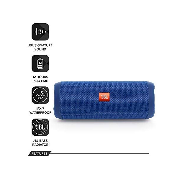 JBL Flip 4 - enceinte Bluetooth Portable Robuste - Étanche Ipx7 pour Piscine & Plage - Autonomie 12 Hrs - Qualité Audio JBL - Bleu 2