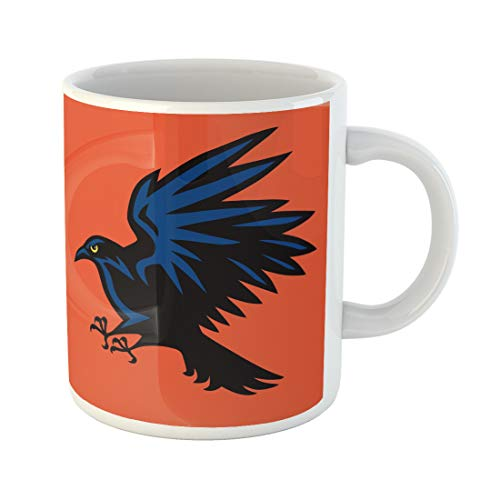 Semtomn Funny Coffee Mug Blue Abstract Raven Angry Bird Sport Mascot Aggressive American Basketball 11 Oz Ceramic Coffee Mugs Tea Cup Best Gift Or Souvenir -