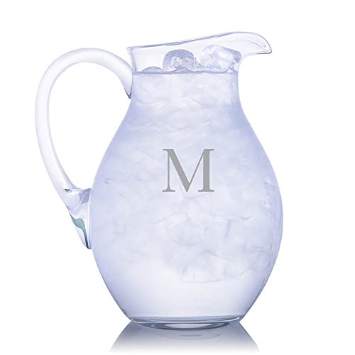 Marquis by Waterford Moments Round Pitcher Engraved & Monogrammed - Great for Juice, Beer, Wine, Iced Tea and Lemonade ()