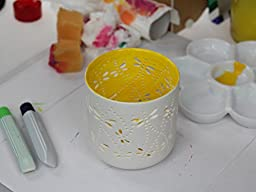 Ceramic Votive LED Candles with Remote: Set of 3 Dragonfly Pattern