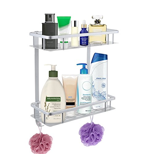 "Anti-Rust Aluminum 2-Tier Wall Mount Bathroom Shelf Organizer with Hooks 12"" x 5"" x 14"" Heavy Duty Shower Shelf Basket Caddy Storage for Bathroom Bedroom Kitchen and Hardware Included 