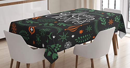 (Lunarable Merry Christmas Tablecloth, Xmas Fir Tree Branches Snowflakes and Ornaments, Dining Room Kitchen Rectangular Table Cover, 60 W X 90 L Inches, Charcoal Grey Burnt Orange Jade Green)