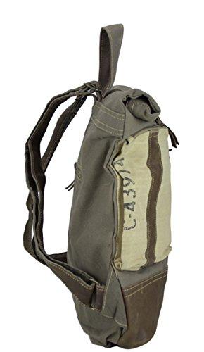 mochila hombre señora Sunsa Vintage Bolso de hombro bolso de mano hecho de tela / tela con cuero 51839