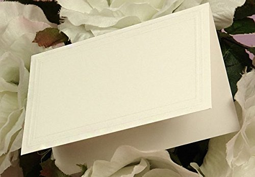 - Embossed Edge Fold Over Tent Cards Table Cards Florists Cards - Matte White (Pack of 50)