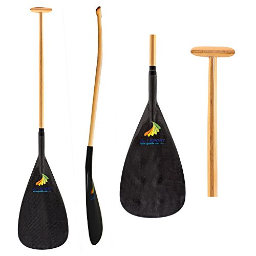Z&J SPORT Hybrid Carbon Outrigger Canoe OC Paddle with Wooden Bent Shaft (S (9.1