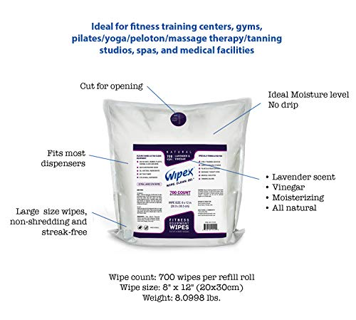 Wipex Gym & Fitness Wipes Refill Pack, 700 Large Natural Wipes Infused with Vinegar & Lavender (4) by Wipex (Image #2)