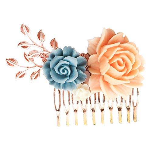 (Aegenacess Rose Gold Wedding Brides Hair Decorative Comb Bridesmaid Gift - Peach Coral Nary Blue Ivory Resin Flowers-Leaf Floral Side Clips Vintage Blush Filigree Bridal Accessories for Women and)