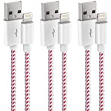 MGADFHSGT For iPhone Charger 3 Pack 3 Feet Nylon Braided Charging Cable Cord to USB Cable Charger Compatible with iPhone X/8/8 Plus/7/7 Plus/6/6 Plus/6s Plus/SE/iPad Air 2/iPad Pro and More(White&Red)