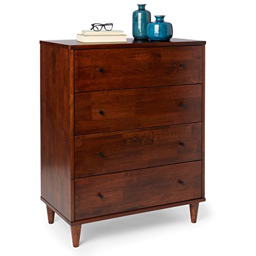 Mid Century Wood 4 Drawer Dresser with Tapered Legs in Rich Tobacco Finish - Includes Modhaus Living Pen