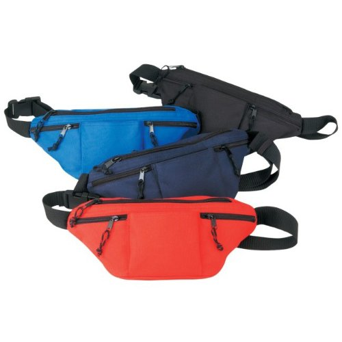Black Four-zipped Travel Hiking Fanny Pack, Outdoor Stuffs