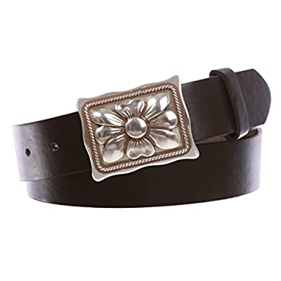 """1 1/2"""" Women's Snap On Rectangular Western Engraving Floral Flower Silver Decorative Buckle With Black Belt"""