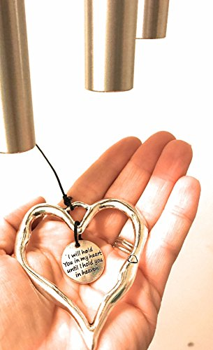 (READY TO SHIP 27 inch Memorial Wind Chime Graceful Grieving Loss Of Life Holding You In My Heart Wind Chime Memorial COMFORT Wind Chime In Memory Of Loved One Silver Memorial Garden or Porch)