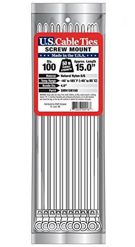 [해외]미국 케이블 타이 SMH15N100 15 인치 스크류 마운트 타이, 내츄럴, 100 팩/US Cable Ties SMH15N100 15-Inch Screw Mount Ties, Natural, 100-Pack
