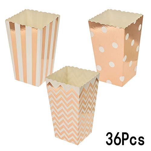 Rose Gold Party Popcorn Treat Boxes - Wedding Bachelorette Bridal Shower Movie Theater Party Favors Mini Popcorn Candy Containers Baby Shower Birthday Party Treat Boxes Supplies, 36Ct