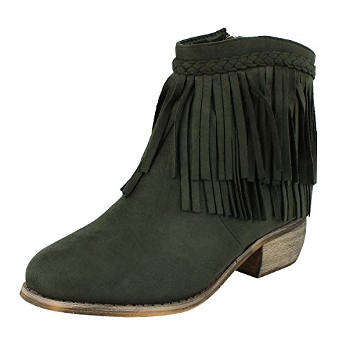 Fringe Ankle Boot Wstern Cow Girl Closed Toe Bootie Casual Comfortable Cowboy Walking Boot Boots, Olive Suede, 7 - Kid Suede Short Boots