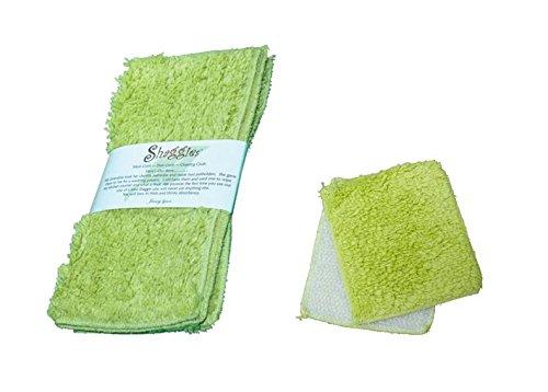 Janey Lynn Designs limealicous Shaggie & Shrubbieコットンシェニール織Washcloth Set of 2 B073ZN46CJ
