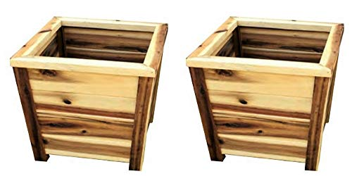 - Avera Tapered Wooden Square Planter, Set of 2 - Choose Size (11.5