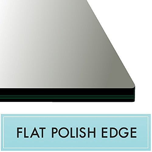 16'' x 24'' Rectangle Clear Tempered Glass Table Top 3/8'' Thick - Flat Polish Edge