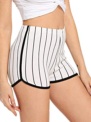 (SOLY HUX Women's Elastic Waist Striped Shorts Black and White S)