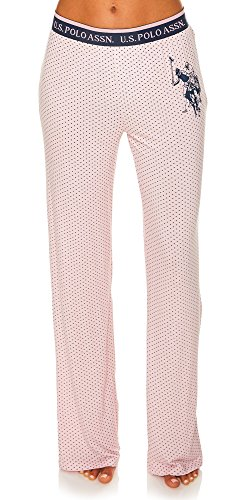 U.S. Polo Assn.. Women's Pajama Sleepwear Logo Pants in Polka Dots Pink Daisy Small by U.S. Polo Assn.