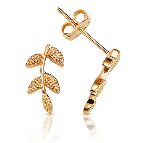 Textured Olive Branch Leaf Stud Earrings in 14K Yellow Gold 14k Yellow Gold Leaf Earrings