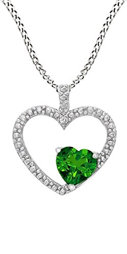 - Jewel Zone US Simulated Green Emerald & White Natural Diamond Heart Pendant Necklace 14k White Gold Over Sterling Silver