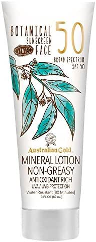 Australian Gold Botanical Sunscreen Tinted Face Mineral Lotion, Broad Spectrum, Water Resistant, SPF 50, 3 Ounce