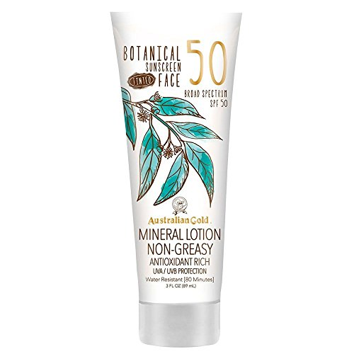 Australian Gold Botanical Sunscreen Tinted Face Mineral Lotion, Broad Spectrum, Water Resistant, SPF 50, 3 Ounce (Best Sunblock For Face Under Makeup)
