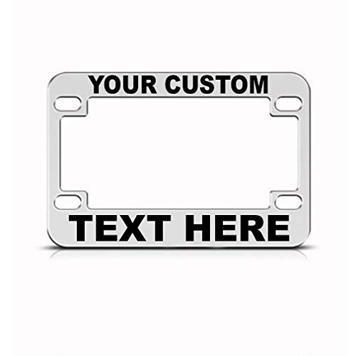 Speedy Pros Custom Personalized Bike License Plate Frame Metal Tag Holder - Chrome 4 Holes ()