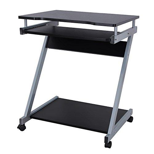 Songmics Computerwagen Computertisch Bürotisch PC Tisch schwarz Z Form Line Rollen LCD811B