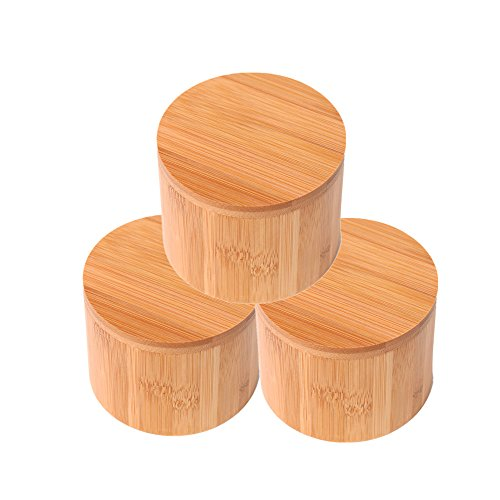 (Wansu 3Pack Round Bamboo Salt/Spices/Pepper/Tea Box Jar Set,With Magnetic Lid For Secure Storage)